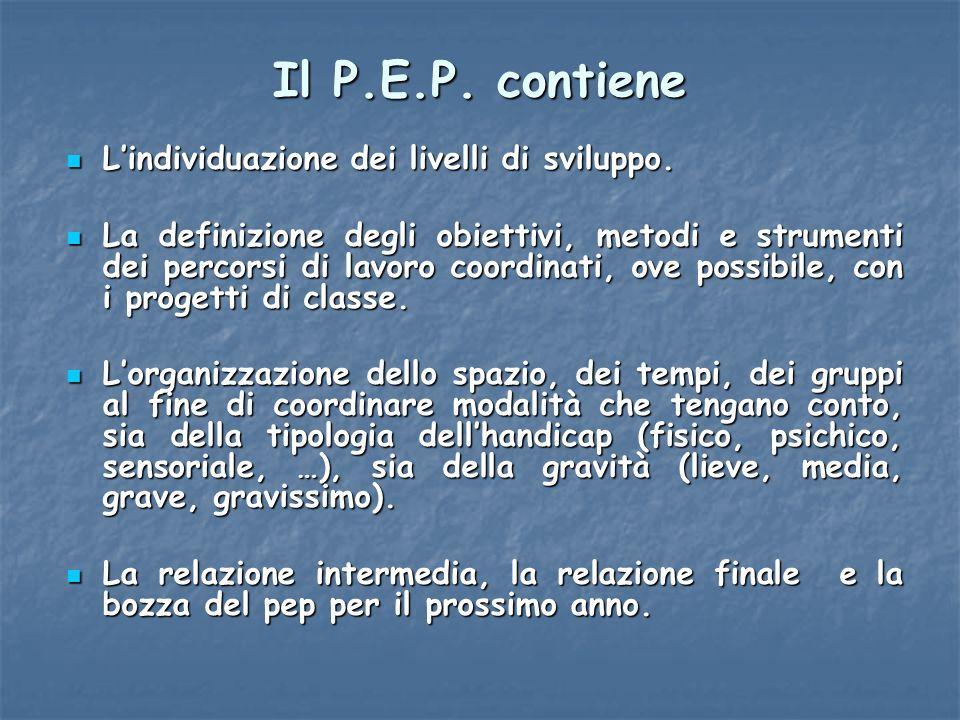 Il P.E.P. contiene Lindividuazione dei livelli di sviluppo. Lindividuazione dei livelli di sviluppo. La definizione degli obiettivi, metodi e strument