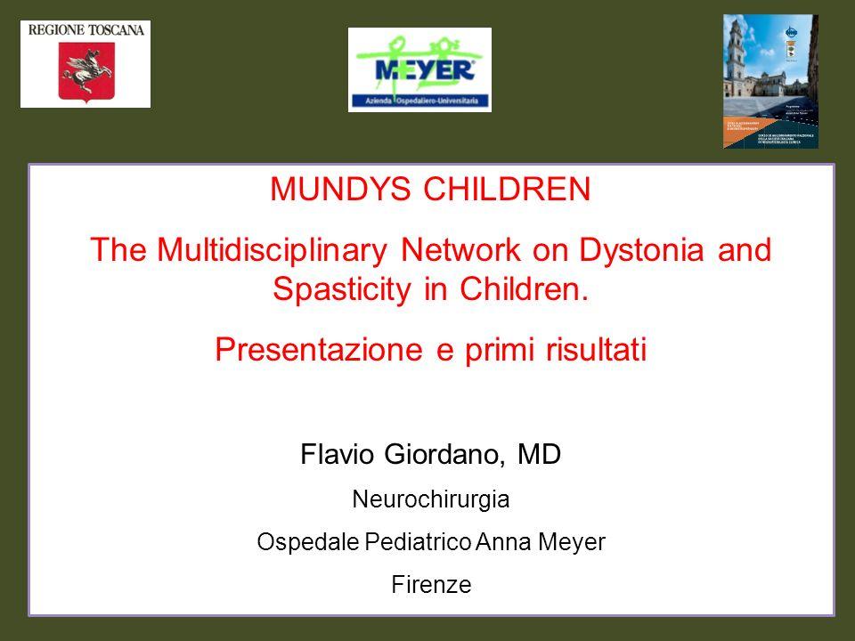 MUNDYS CHILDREN The Multidisciplinary Network on Dystonia and Spasticity in Children. Presentazione e primi risultati Flavio Giordano, MD Neurochirurg