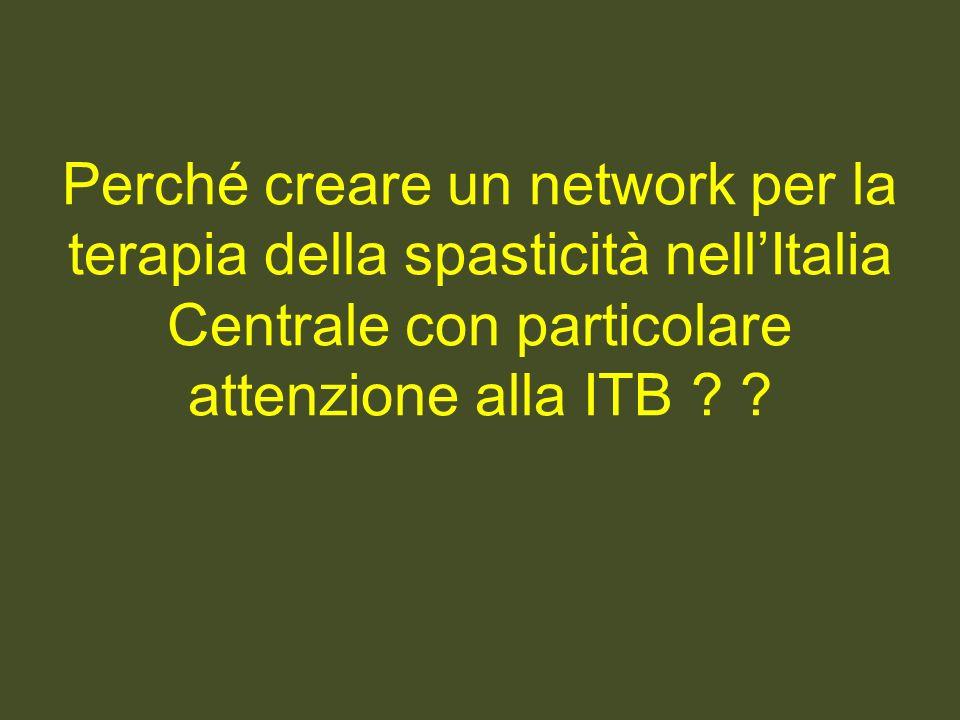 Perché creare un network per la terapia della spasticità nellItalia Centrale con particolare attenzione alla ITB ? ?