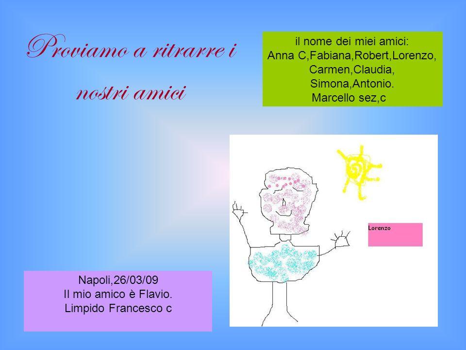 il nome dei miei amici: Anna C,Fabiana,Robert,Lorenzo, Carmen,Claudia, Simona,Antonio.