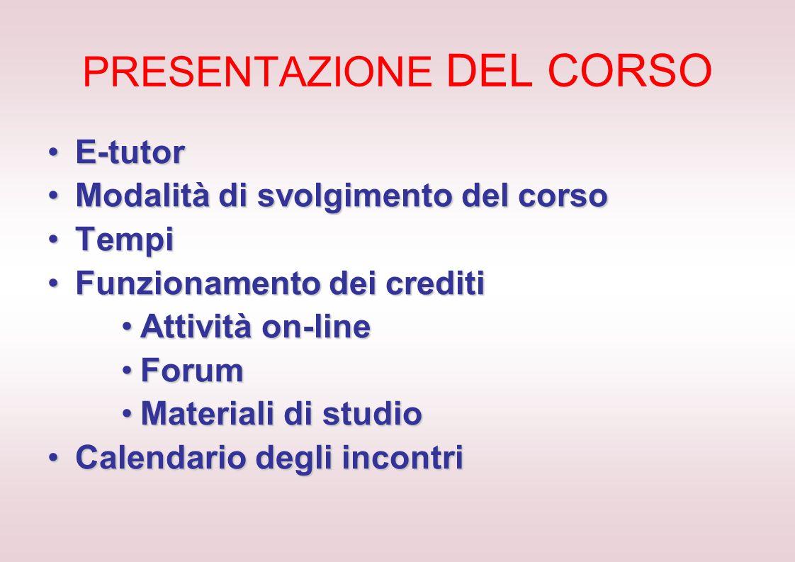 PRESENTAZIONE DEL CORSO E-tutorE-tutor Modalità di svolgimento del corsoModalità di svolgimento del corso TempiTempi Funzionamento dei creditiFunziona