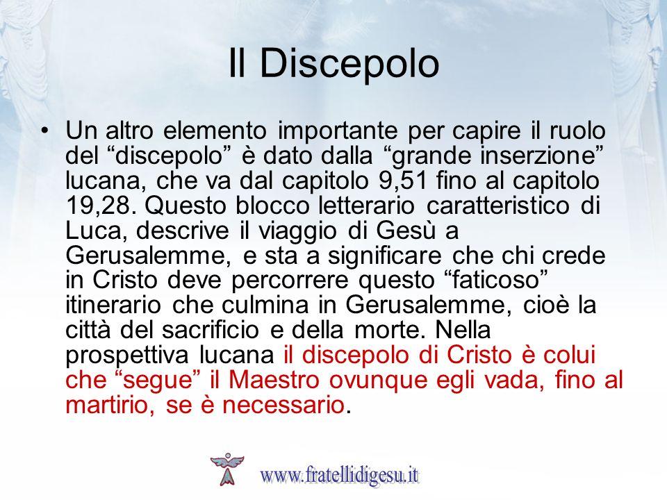 Il Discepolo Un altro elemento importante per capire il ruolo del discepolo è dato dalla grande inserzione lucana, che va dal capitolo 9,51 fino al capitolo 19,28.