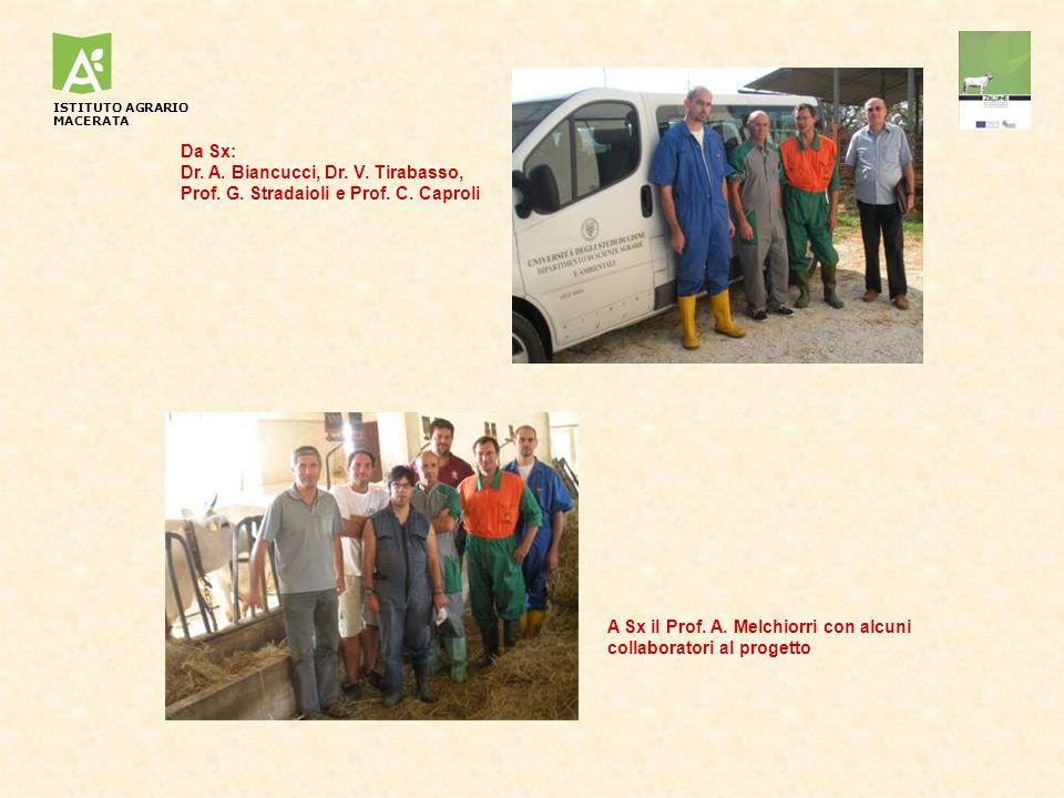 Da Sx: Dr. A. Biancucci, Dr. V. Tirabasso, Prof. G. Stradaioli e Prof. C. Caproli A Sx il Prof. A. Melchiorri con alcuni collaboratori al progetto IST