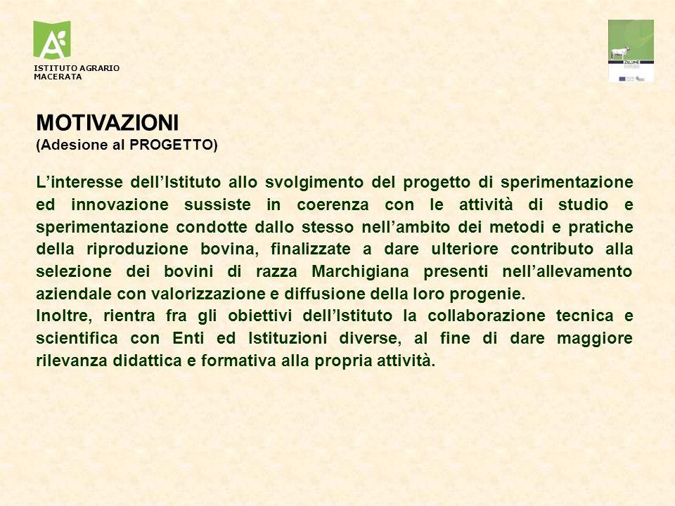 MOTIVAZIONI (Adesione al PROGETTO) Linteresse dellIstituto allo svolgimento del progetto di sperimentazione ed innovazione sussiste in coerenza con le