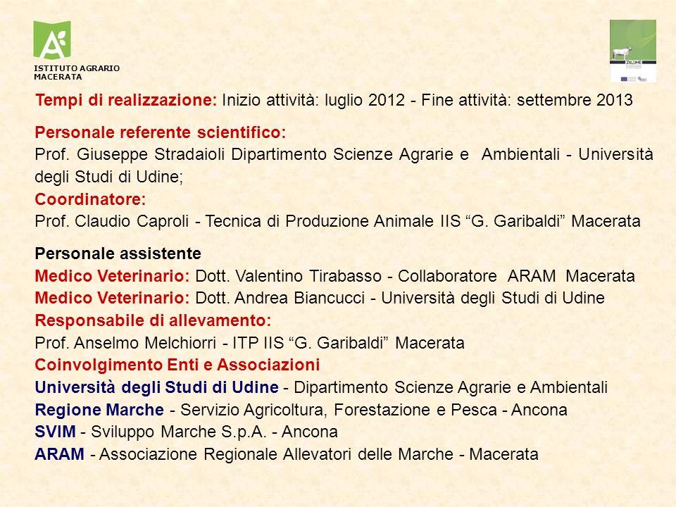 Tempi di realizzazione: Inizio attività: luglio 2012 - Fine attività: settembre 2013 Personale referente scientifico: Prof. Giuseppe Stradaioli Dipart