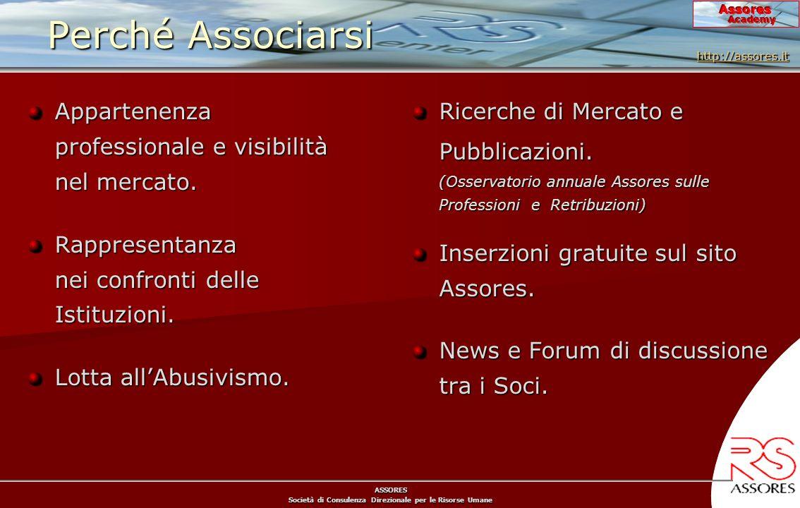 ASSORES Società di Consulenza Direzionale per le Risorse Umane Assores Academy Perché Associarsi Appartenenza professionale e visibilità nel mercato.
