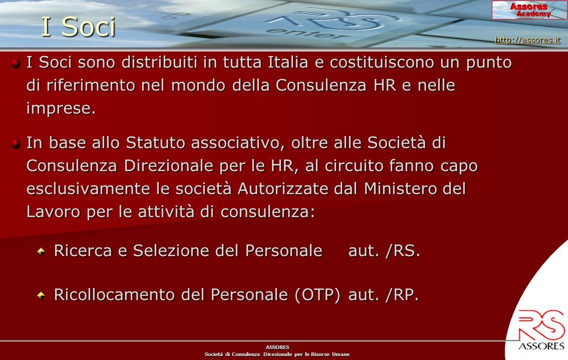 ASSORES Società di Consulenza Direzionale per le Risorse Umane Assores Academy I Soci I Soci sono distribuiti in tutta Italia e costituiscono un punto di riferimento nel mondo della Consulenza HR e nelle imprese.