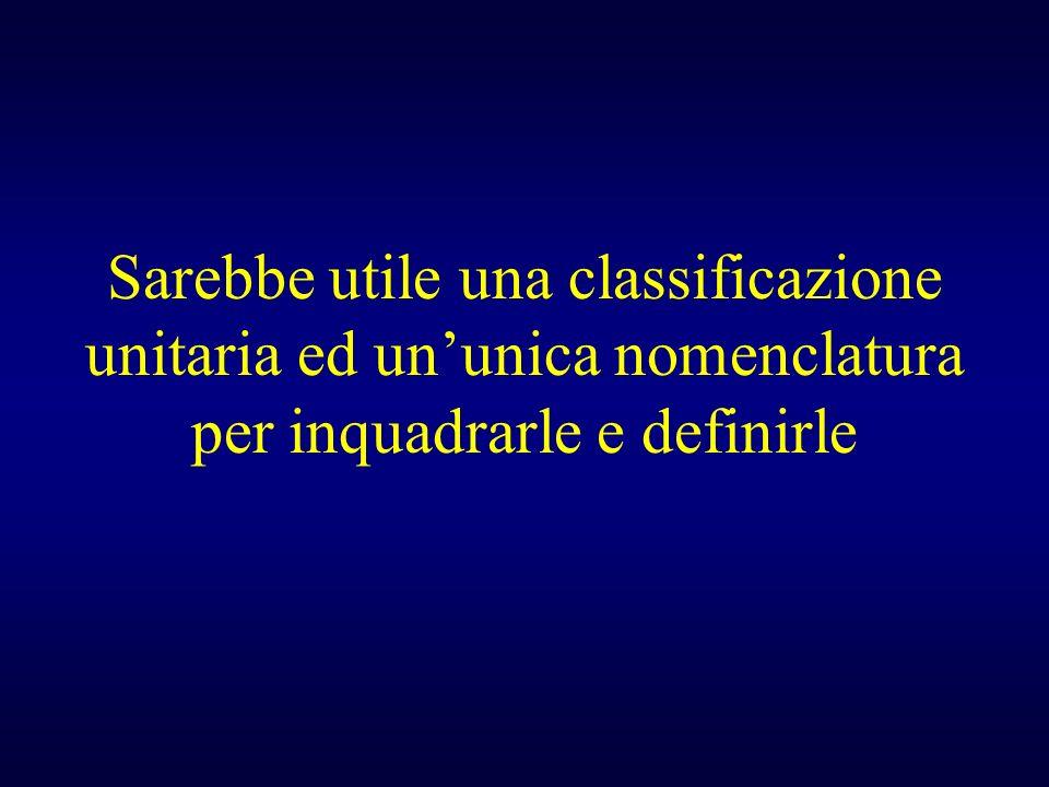 Sarebbe utile una classificazione unitaria ed ununica nomenclatura per inquadrarle e definirle