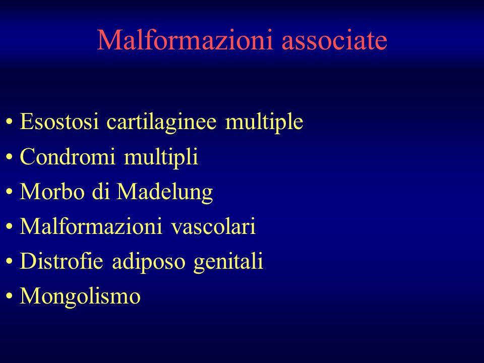 Malformazioni associate Esostosi cartilaginee multiple Condromi multipli Morbo di Madelung Malformazioni vascolari Distrofie adiposo genitali Mongolis