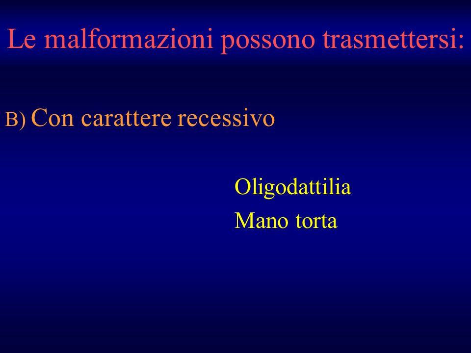Le malformazioni possono trasmettersi: B) Con carattere recessivo Oligodattilia Mano torta