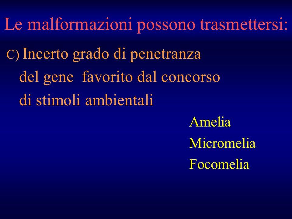 Le malformazioni possono trasmettersi: C) Incerto grado di penetranza del gene favorito dal concorso di stimoli ambientali Amelia Micromelia Focomelia