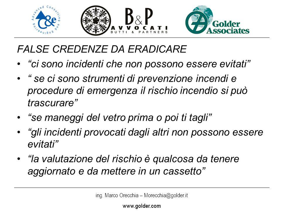 ing. Marco Orecchia – Morecchia@golder.it www.golder.com FALSE CREDENZE DA ERADICARE ci sono incidenti che non possono essere evitati se ci sono strum