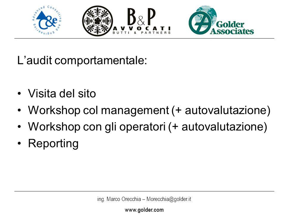 ing. Marco Orecchia – Morecchia@golder.it www.golder.com Laudit comportamentale: Visita del sito Workshop col management (+ autovalutazione) Workshop