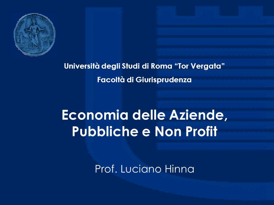 Economia delle Aziende, Pubbliche e Non Profit Prof. Luciano Hinna Università degli Studi di Roma Tor Vergata Facoltà di Giurisprudenza