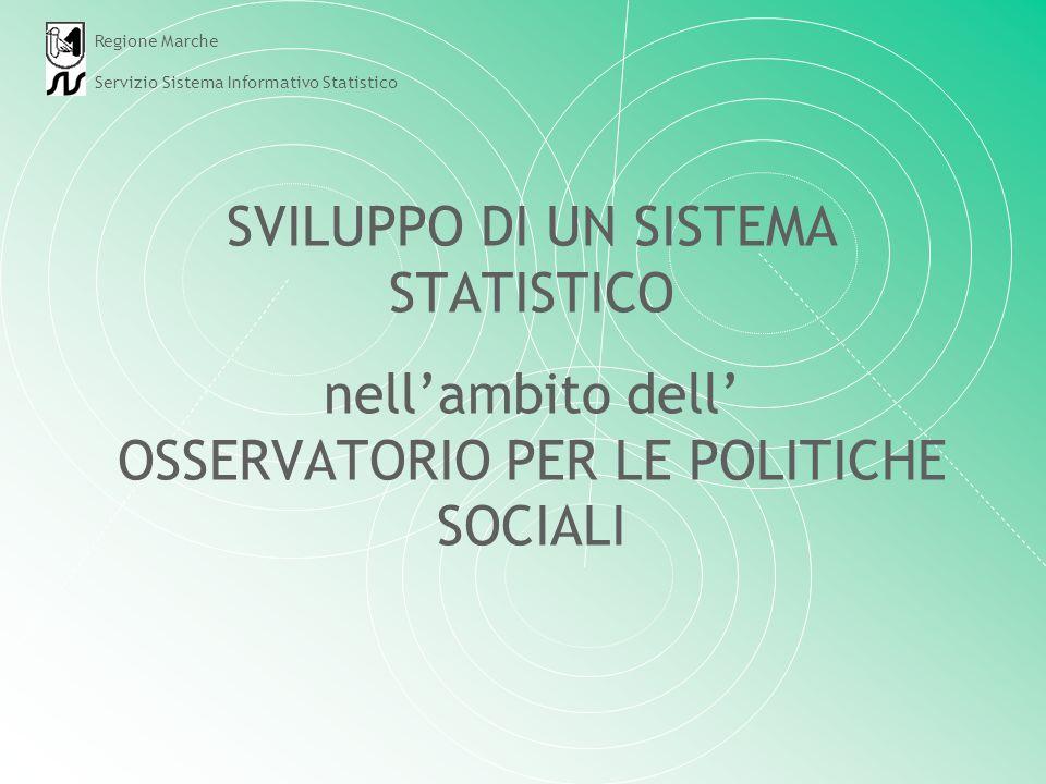 SVILUPPO DI UN SISTEMA STATISTICO nellambito dell OSSERVATORIO PER LE POLITICHE SOCIALI Regione Marche Servizio Sistema Informativo Statistico