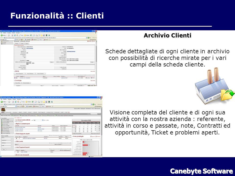 Funzionalità :: Clienti Canebyte Software Funzionalità Clienti Archivio Clienti Schede dettagliate di ogni cliente in archivio con possibilità di ricerche mirate per i vari campi della scheda cliente.