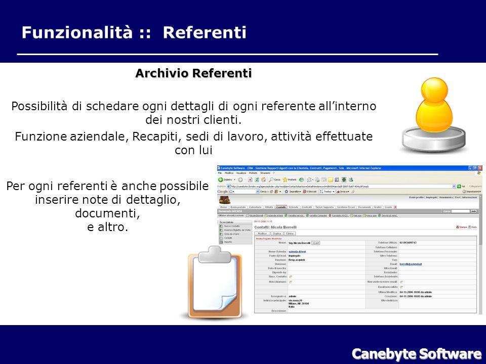 Funzionalità :: Referenti Canebyte Software Funzionalità Referenti Archivio Referenti Possibilità di schedare ogni dettagli di ogni referente allinterno dei nostri clienti.