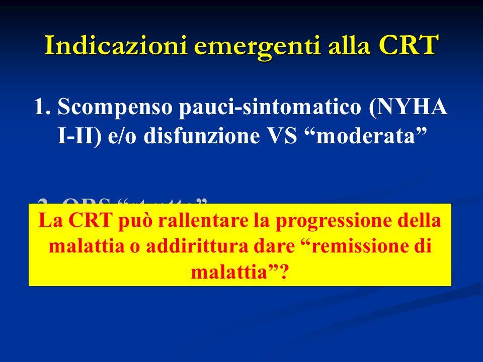 Indicazioni emergenti alla CRT 1.Scompenso pauci-sintomatico (NYHA I-II) e/o disfunzione VS moderata 2. QRS stretto La CRT può rallentare la progressi
