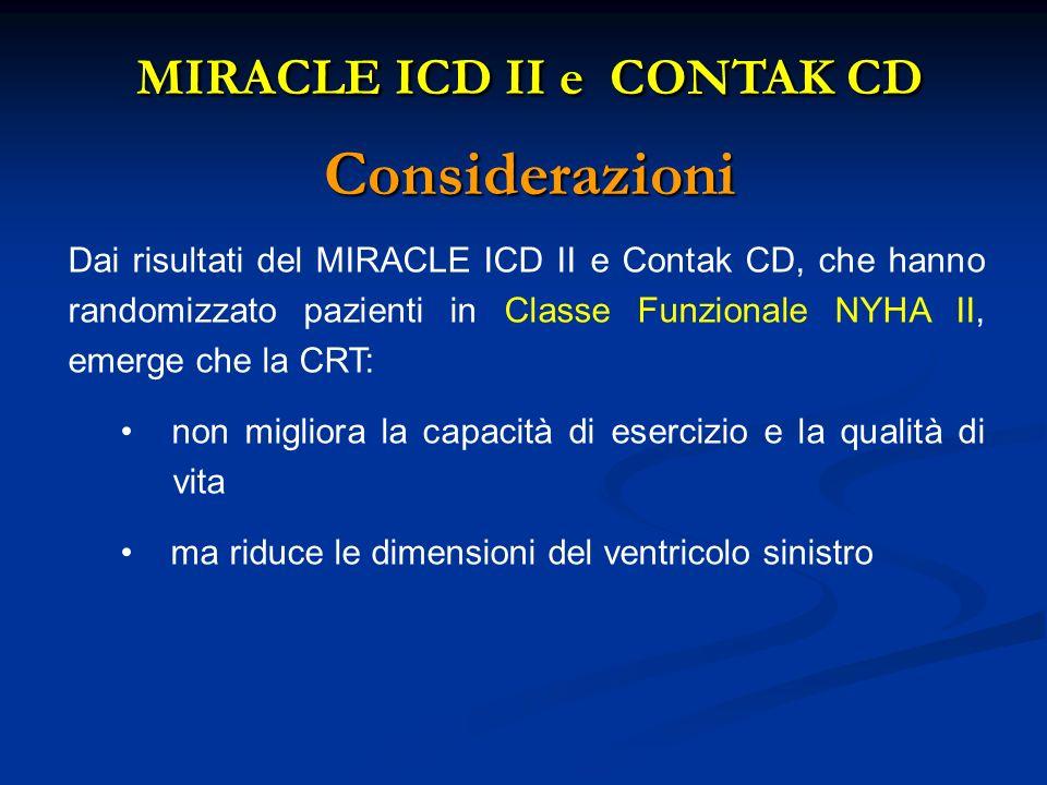 Dai risultati del MIRACLE ICD II e Contak CD, che hanno randomizzato pazienti in Classe Funzionale NYHA II, emerge che la CRT: non migliora la capacit