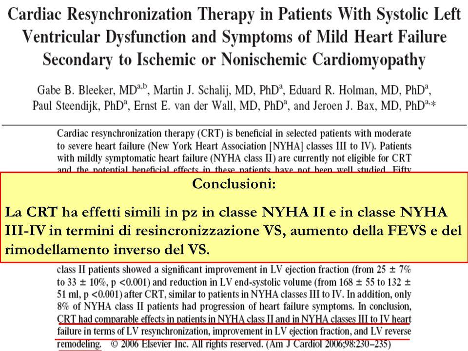 Conclusioni: La CRT ha effetti simili in pz in classe NYHA II e in classe NYHA III-IV in termini di resincronizzazione VS, aumento della FEVS e del ri