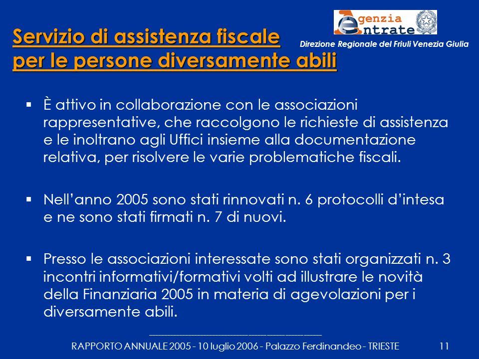 --------------------------------------------------------- RAPPORTO ANNUALE 2005 - 10 luglio 2006 - Palazzo Ferdinandeo - TRIESTE11 Direzione Regionale del Friuli Venezia Giulia Servizio di assistenza fiscale per le persone diversamente abili È attivo in collaborazione con le associazioni rappresentative, che raccolgono le richieste di assistenza e le inoltrano agli Uffici insieme alla documentazione relativa, per risolvere le varie problematiche fiscali.