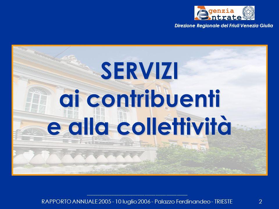--------------------------------------------------------- RAPPORTO ANNUALE 2005 - 10 luglio 2006 - Palazzo Ferdinandeo - TRIESTE23 Direzione Regionale del Friuli Venezia Giulia Intermediari della riscossione: violazioni contestate e dati numerici Procure della Repubblica competenti N° intermediari segnalati Somme recuperate (in ) Gorizia40155.557,47 Pordenone49192.408,34 Tolmezzo108.458,52 Trieste36381.712,97 Udine64202.235,96 TOTALE199940.373,26