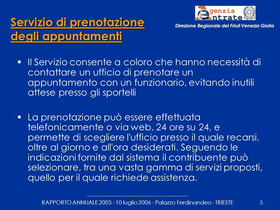 --------------------------------------------------------- RAPPORTO ANNUALE 2005 - 10 luglio 2006 - Palazzo Ferdinandeo - TRIESTE6 Direzione Regionale del Friuli Venezia Giulia UFFICIONumero degli appuntamenti prenotati 2005 (fonte: cup) CERVIGNANO147 GEMONA170 GORIZIA69 LATISANA837 MANIAGO148 MONFALCONE453 PORDENONE1.343 TOLMEZZO17 TRIESTE6.230 UDINE11.104 TOTALE REGIONE 20.518 Servizio di prenotazione degli appuntamenti