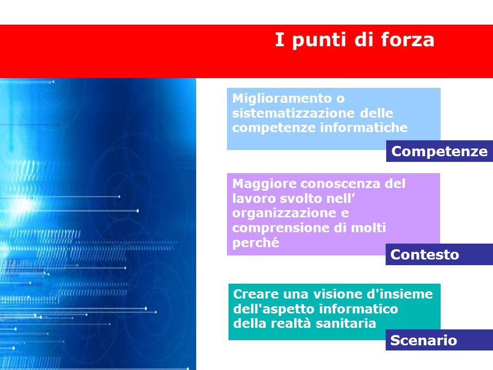 Punti di forza I punti di forza Miglioramento o sistematizzazione delle competenze informatiche Competenze Maggiore conoscenza del lavoro svolto nell