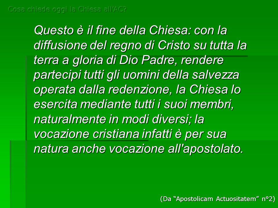 Questo è il fine della Chiesa: con la diffusione del regno di Cristo su tutta la terra a gloria di Dio Padre, rendere partecipi tutti gli uomini della