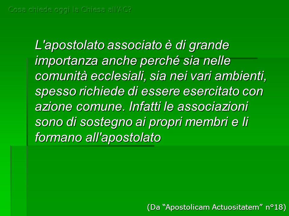 L'apostolato associato è di grande importanza anche perché sia nelle comunità ecclesiali, sia nei vari ambienti, spesso richiede di essere esercitato