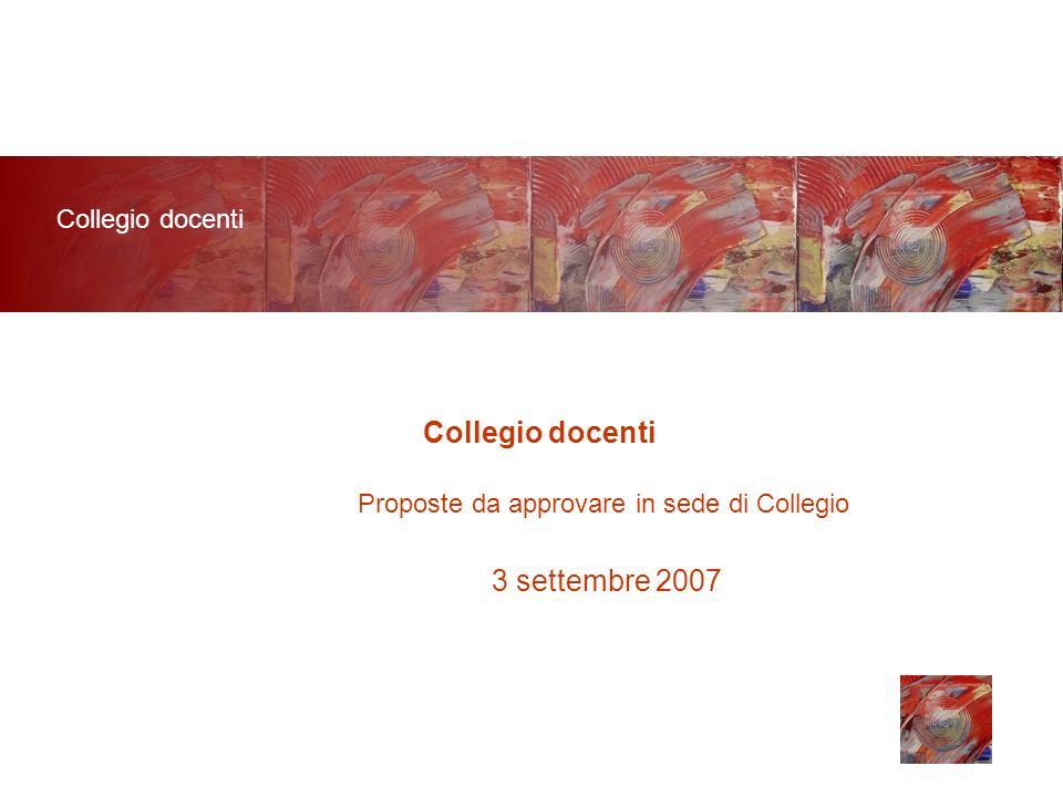 Collegio docenti 3 settembre 2007 Proposte da approvare in sede di Collegio Collegio docenti