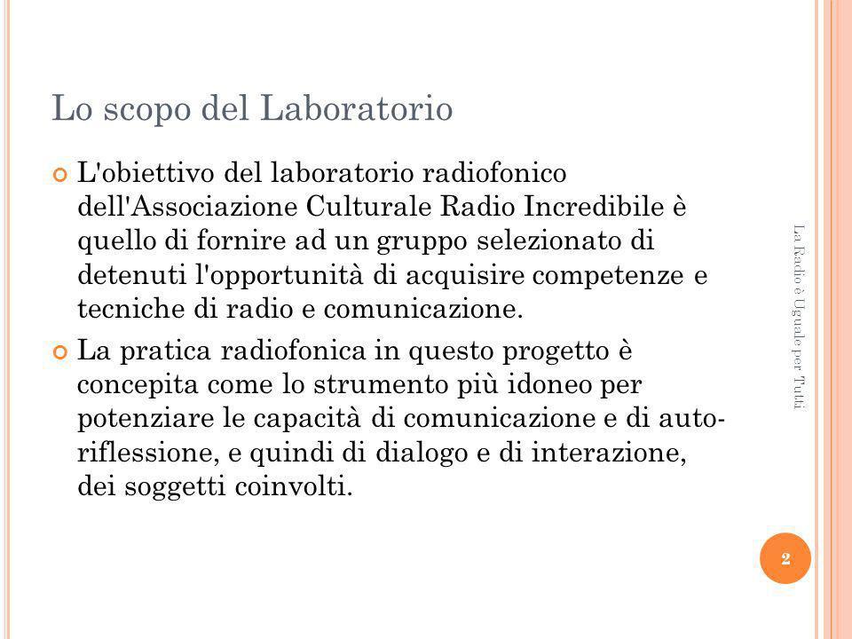 Lo scopo del Laboratorio L obiettivo del laboratorio radiofonico dell Associazione Culturale Radio Incredibile è quello di fornire ad un gruppo selezionato di detenuti l opportunità di acquisire competenze e tecniche di radio e comunicazione.