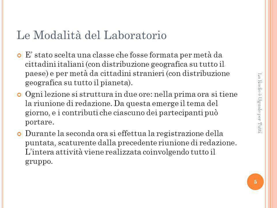 Le Modalità del Laboratorio E stato scelta una classe che fosse formata per metà da cittadini italiani (con distribuzione geografica su tutto il paese) e per metà da cittadini stranieri (con distribuzione geografica su tutto il pianeta).