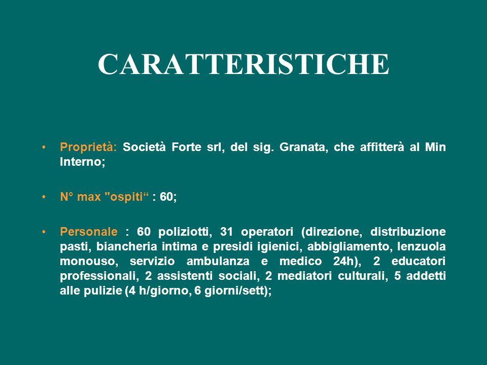 CARATTERISTICHE Proprietà: Società Forte srl, del sig. Granata, che affitterà al Min Interno; N° max