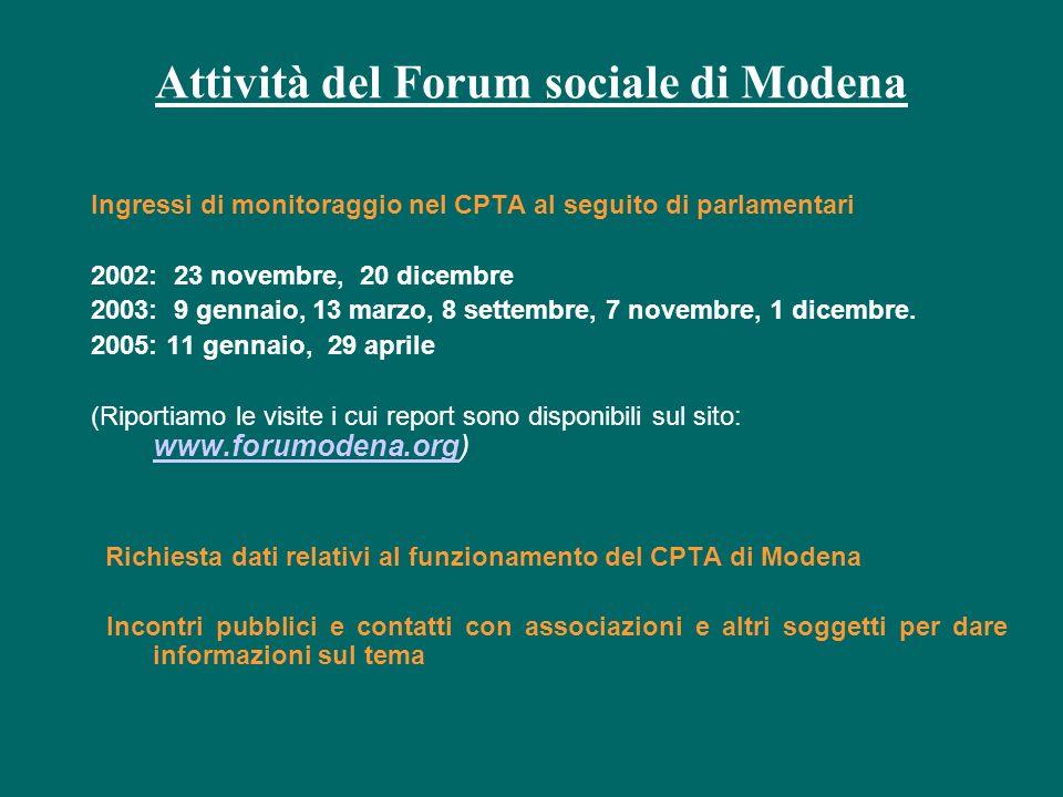 Attività del Forum sociale di Modena Ingressi di monitoraggio nel CPTA al seguito di parlamentari 2002: 23 novembre, 20 dicembre 2003: 9 gennaio, 13 marzo, 8 settembre, 7 novembre, 1 dicembre.