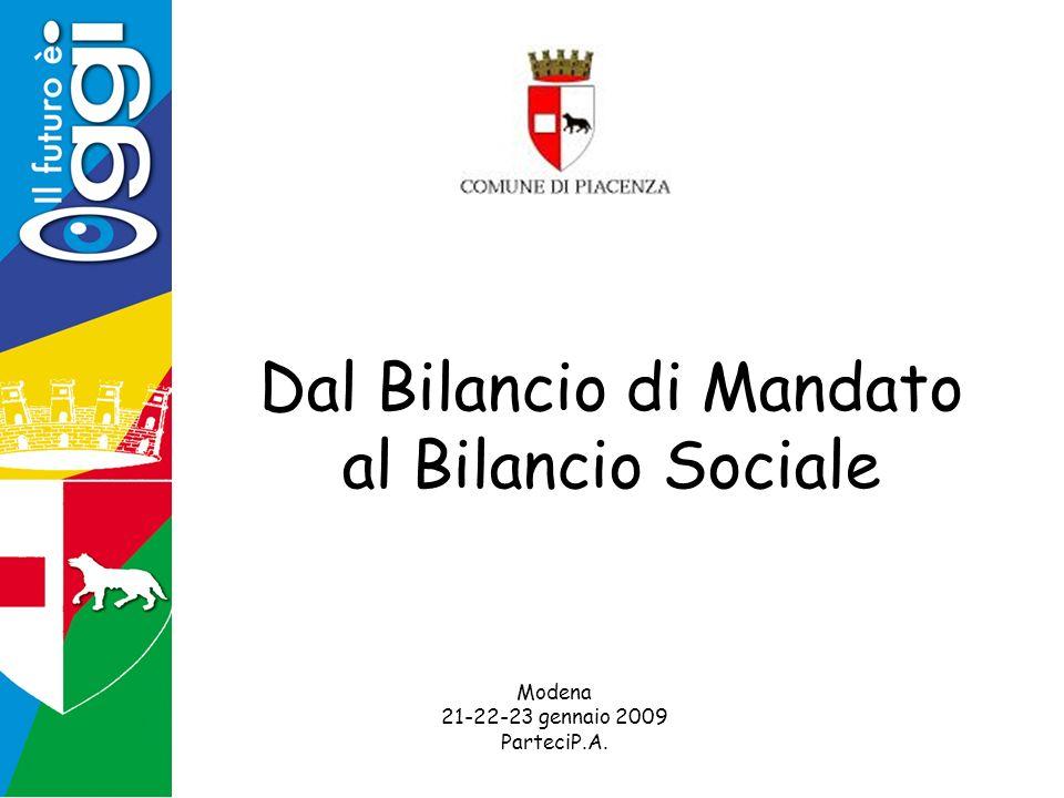 Dal Bilancio di Mandato al Bilancio Sociale Modena 21-22-23 gennaio 2009 ParteciP.A.