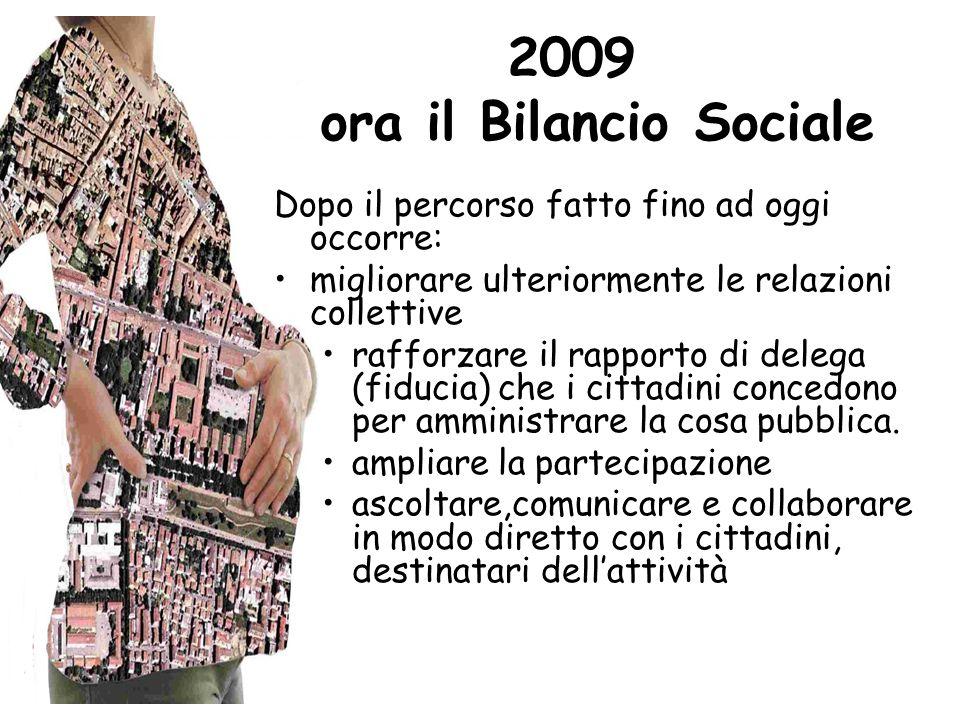 2009 e ora il Bilancio Sociale Dopo il percorso fatto fino ad oggi occorre: migliorare ulteriormente le relazioni collettive rafforzare il rapporto di delega (fiducia) che i cittadini concedono per amministrare la cosa pubblica.