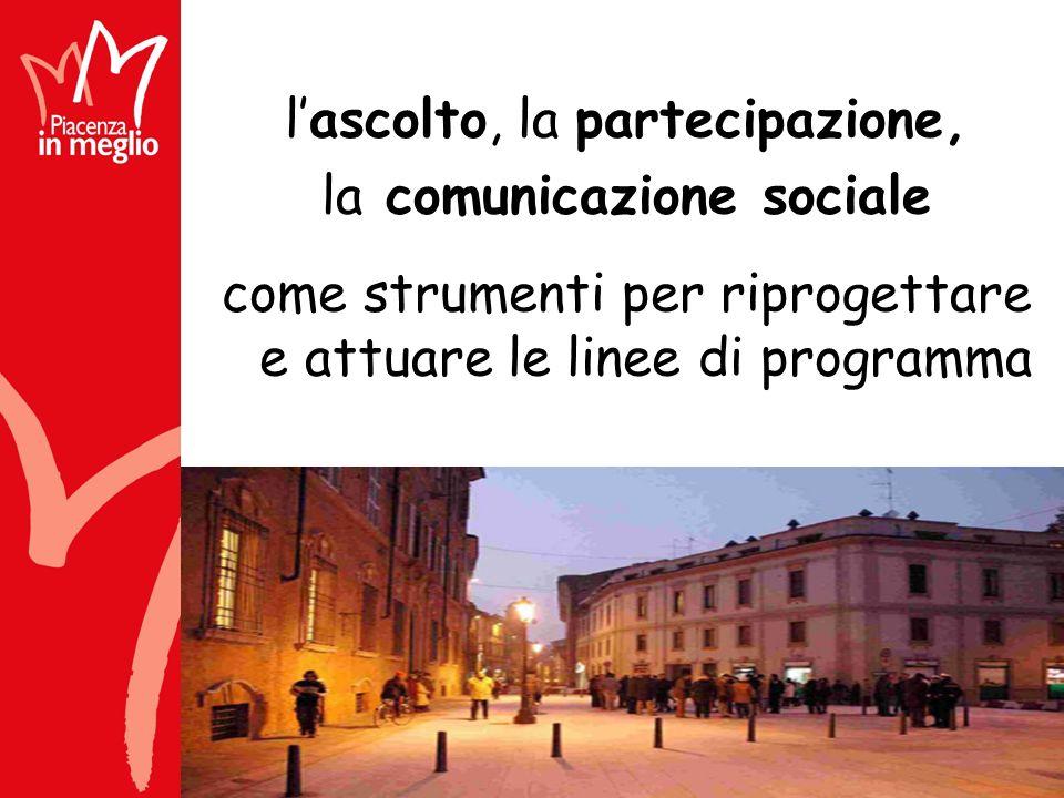 lascolto, la partecipazione, la comunicazione sociale come strumenti per riprogettare e attuare le linee di programma