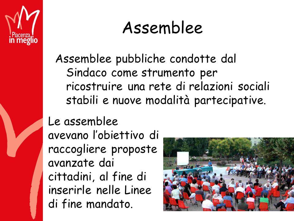 Assemblee Assemblee pubbliche condotte dal Sindaco come strumento per ricostruire una rete di relazioni sociali stabili e nuove modalità partecipative.