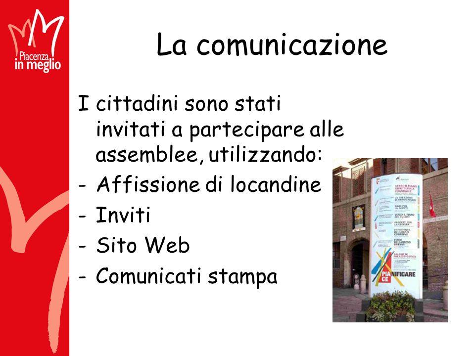 La comunicazione I cittadini sono stati invitati a partecipare alle assemblee, utilizzando: -Affissione di locandine -Inviti -Sito Web -Comunicati stampa