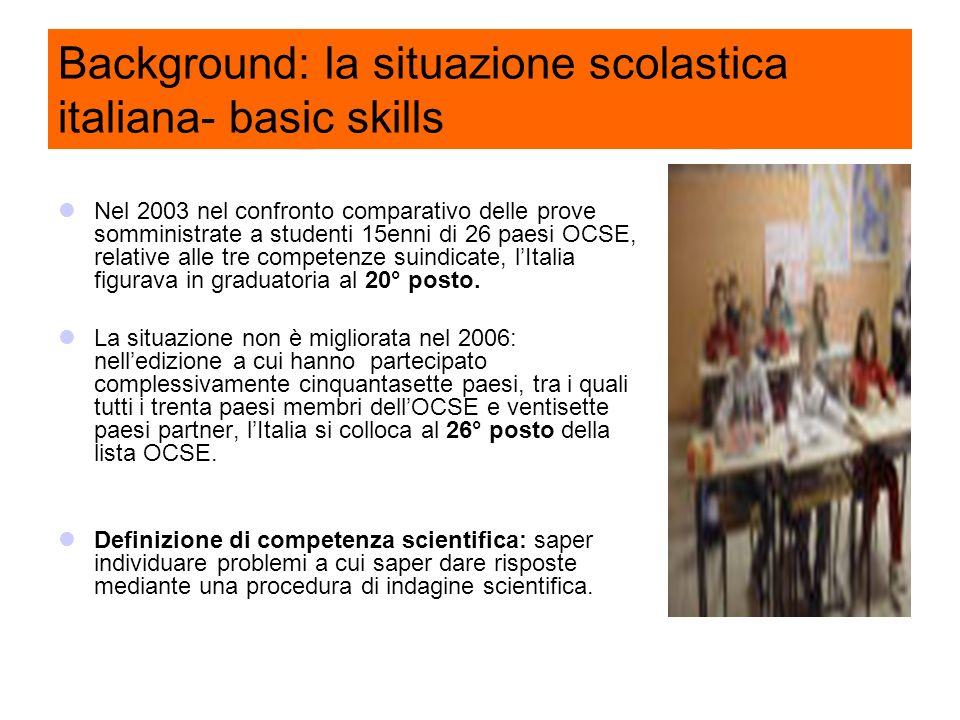 Background: la situazione scolastica italiana- basic skills Nel 2003 nel confronto comparativo delle prove somministrate a studenti 15enni di 26 paesi OCSE, relative alle tre competenze suindicate, lItalia figurava in graduatoria al 20° posto.