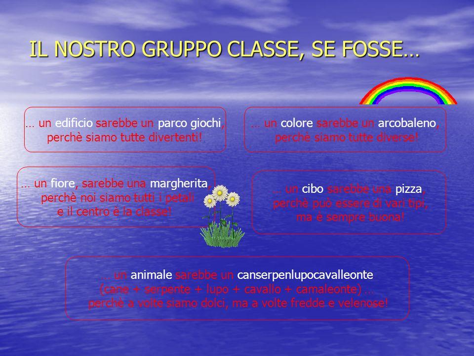 IL NOSTRO GRUPPO CLASSE, SE FOSSE… … un fiore, sarebbe una margherita, perchè noi siamo tutti i petali e il centro è la classe.