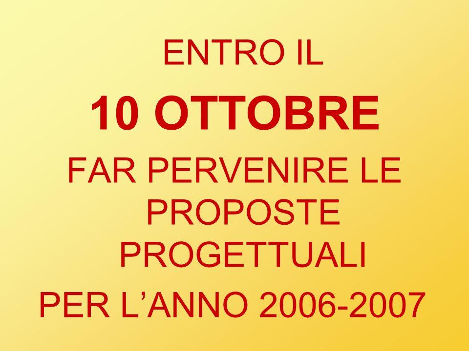 ENTRO IL 10 OTTOBRE FAR PERVENIRE LE PROPOSTE PROGETTUALI PER LANNO 2006-2007