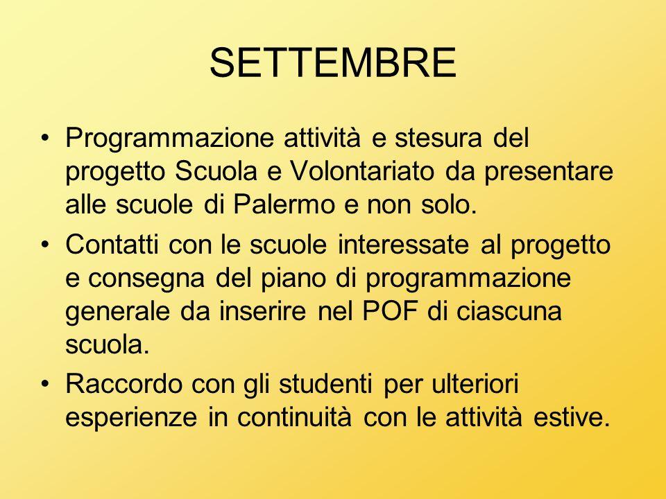 SETTEMBRE Programmazione attività e stesura del progetto Scuola e Volontariato da presentare alle scuole di Palermo e non solo. Contatti con le scuole