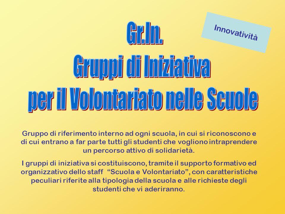 Innovatività Gruppo di riferimento interno ad ogni scuola, in cui si riconoscono e di cui entrano a far parte tutti gli studenti che vogliono intraprendere un percorso attivo di solidarietà.