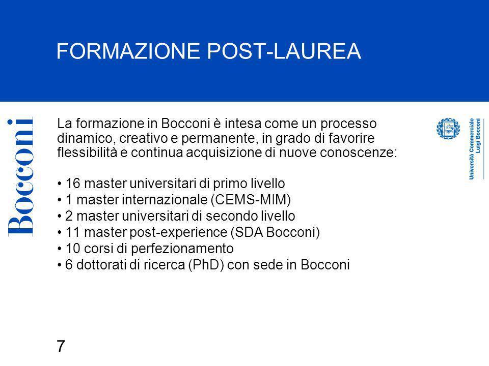 8 LEXECUTIVE EDUCATION SDA Bocconi La più grande Business School in Italia, una delle maggiori in Europa: 1016 corsi di formazione manageriale erogati nellanno 2003, di cui 516 a catalogo, 500 su commessa 17.850 partecipanti ai corsi di formazione del 2003 (di cui 7.850 ai corsi a catalogo) i partecipanti ai master SDA Bocconi provengono da 63 paesi diversi