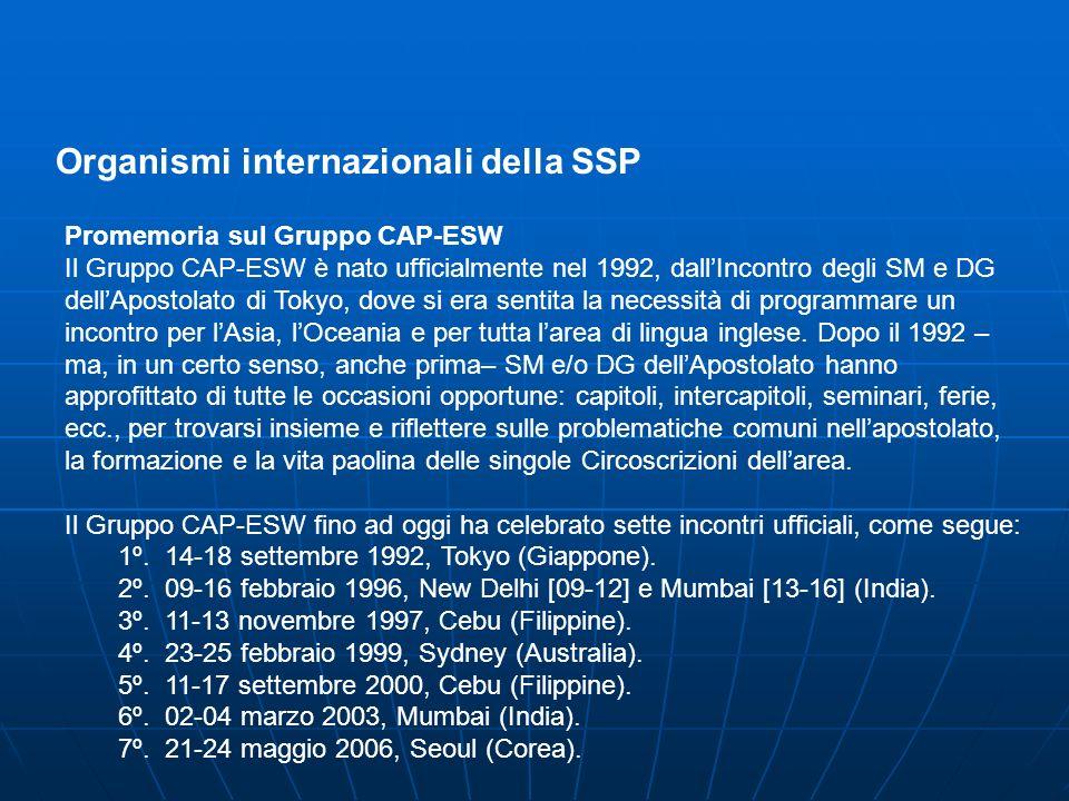Organismi internazionali della SSP Promemoria sul Gruppo CAP-ESW Il Gruppo CAP-ESW è nato ufficialmente nel 1992, dallIncontro degli SM e DG dellApostolato di Tokyo, dove si era sentita la necessità di programmare un incontro per lAsia, lOceania e per tutta larea di lingua inglese.