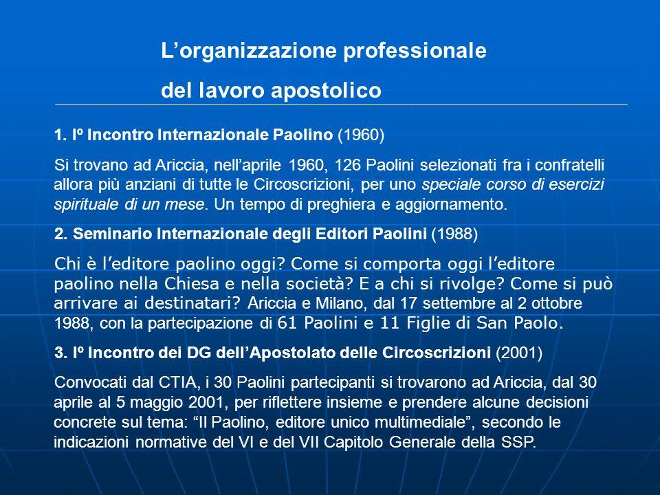 1. Iº Incontro Internazionale Paolino (1960) Si trovano ad Ariccia, nellaprile 1960, 126 Paolini selezionati fra i confratelli allora più anziani di t