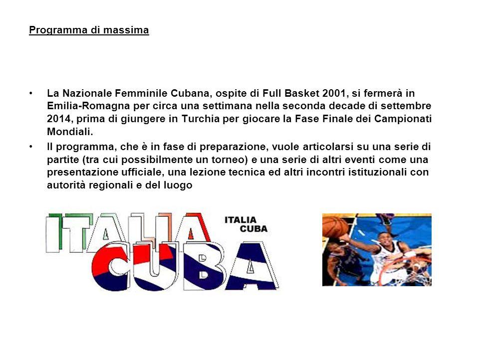 Programma di massima La Nazionale Femminile Cubana, ospite di Full Basket 2001, si fermerà in Emilia-Romagna per circa una settimana nella seconda decade di settembre 2014, prima di giungere in Turchia per giocare la Fase Finale dei Campionati Mondiali.