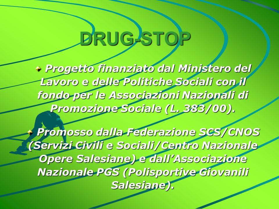 DRUG-STOP Progetto finanziato dal Ministero del Lavoro e delle Politiche Sociali con il fondo per le Associazioni Nazionali di Promozione Sociale (L.